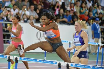 Jasmin stowers on her way to winning the 100m hurdles in 12 35 at the