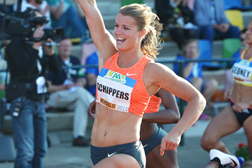 Dafne Schippers sets a Dutch record of 10.94 to win the 100m at the FBK Games in Hengelo (Erik van Leeuwen)