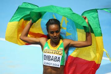 Genzebe Dibaba after winning 3000m gold at the 2014 IAAF World Indoor Championships in Sopot (Getty Images)