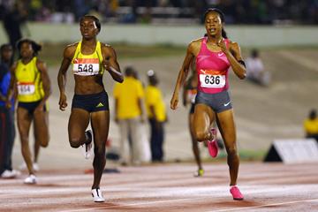 Sanya Richards-Ross and Novlene Williams-Mills in the 400m in Kingston (Getty Images)