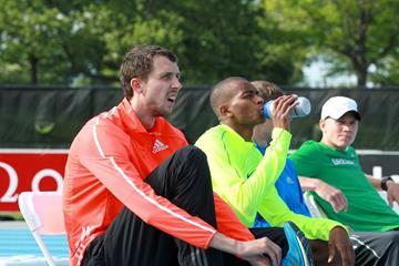 Bohdan Bondarenko and Mutaz Essa Barshim at the 2014 IAAF Diamond League meeting in New York (Victah Sailer)