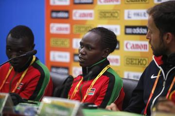 Emily Chebet, flanked by Geoffrey Kamworor and Chris Derrick at the athletes' press conference - IAAF World Cross Country Championships, Guiyang 2015 (Getty Images)