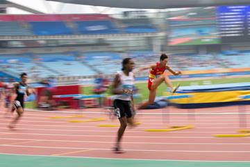 Xu Zhihong on his way to gold in the boys' 400m hurdles at the Youth Olympic Games in Nanjing (YOG LOC)