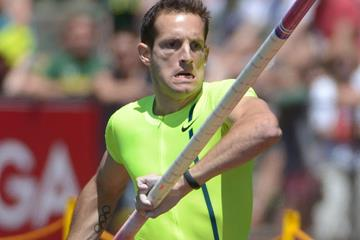 Renaud Lavillenie on his way to winning the pole vault at the IAAF Diamond League meeting in Eugene (Kirby Lee)