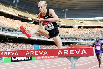 Evan Jager in the 3000m steeplechase at the IAAF Diamond League meeting in Paris (Jiro Mochizuki)