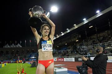 Jenny Simpson after winning the 1500m at the 2014 IAAF Diamond League meeting in Stockholm (DECA Text & Bild)