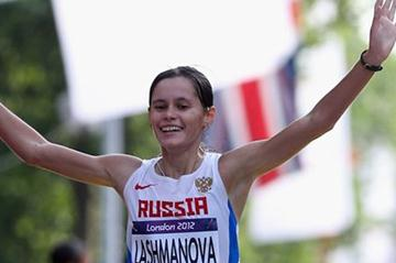 Elena Lashmanova of Russia won the gold medal in  the Women's 20km Walk of the London 2012 Olympic Games on the streets of London on August 11, 2012 (Getty Images)