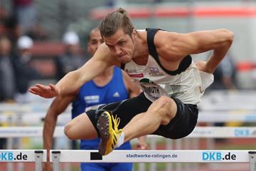 Rico Freimuth in action in the 110m hurdles, en route to winning the decathlon in Ratingen (Gladys Chai von der Laage)