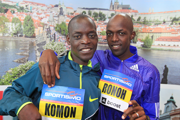 Leonard Komon and Geoffrey Ronoh ahead of the 2015 Sportismo Prague Half Marathon (Victah Sailer / organisers)