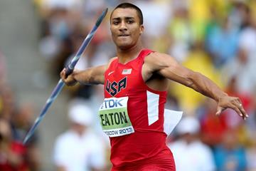 Ashton Eaton in the Decathlon Javelin at the IAAF World Championships in Moscow (Getty Images)
