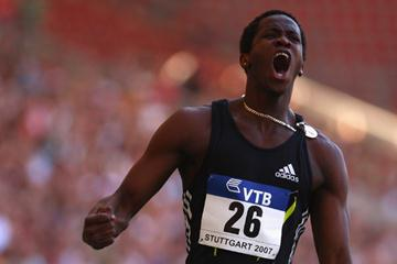 Dayron Robles after his 12.92 in Stuttgart (Getty Images)