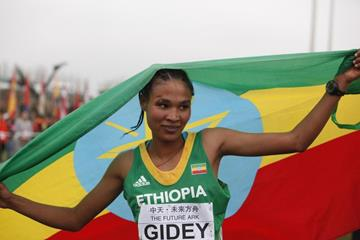 Junior women's winner Letesenbet Gidey at the IAAF World Cross Country Championships, Guiyang 2015 (Getty Images)