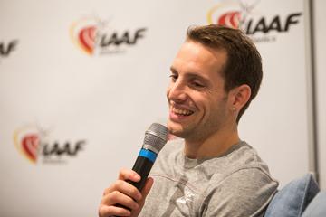 Renaud Lavillenie speaks to the media (Philippe Fitte / IAAF)
