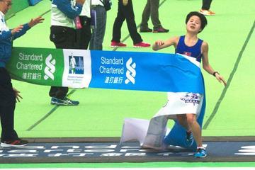 DPR Korea's Kim Hye Gyong wins at the 2015 Standard Chartered Hong Kong Marathon  (Organisers)