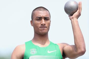 US decathlete Ashton Eaton in action in the Shot (Getty Images)