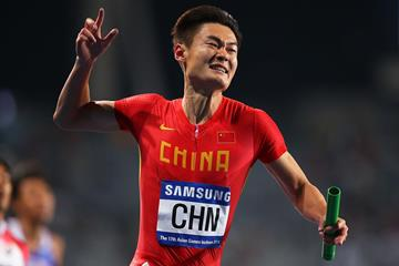 Zhang Peimeng anchors China to an Asian record in the 4x100m at the Asian Games (Getty Images)