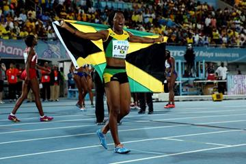 Simone Facey celebrates Jamaica's victory in the 4x100m at the IAAF/BTC World Relays, Bahamas 2015 (Getty Images)