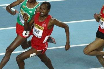(L-R) Mekonnen Gebremedhin of Ethiopia, Abdalaati Iguider of Morocco and Ilham Obzilen of Turkey compete in the Men's 1500 Metres Final - WIC Istanbul (Getty Images)