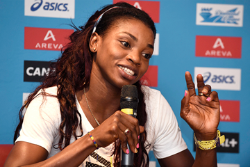 Caterine Ibarguen at the press conference for the IAAF Diamond League meeting in Paris (Jean-Marie Hervio)