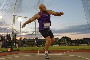Piotr Malachowski at the 2015 IAAF Diamond League meeting in Eugene (Kirby Lee)