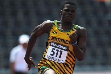 Michael O'Hara in the boys' 200m at the IAAF World Youth Championships 2013 (Getty Images)