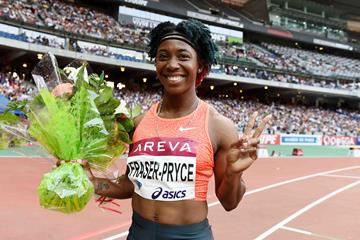 Shelly-Ann Fraser-Pryce at the 2015 IAAF Diamond League meeting in Paris (Jiro Mochizuki)