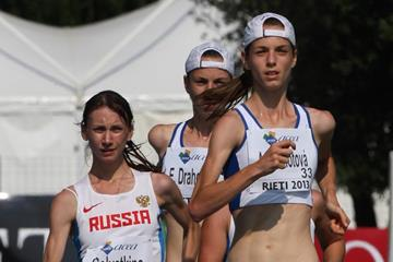 Anezka Drahotova leading the 2013 European Athletics Junior Championships 10,000m Race Walk (Getty Images)