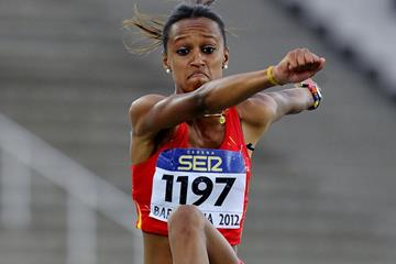 Ana Peleteiro of Spain in the women's triple jump at the 2012 IAAF World Junior Championships in Barcelona (Getty Images)
