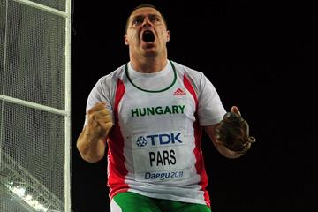Krisztian Pars of Hungary reacts in the Men's Hammer Final  (Getty Images)