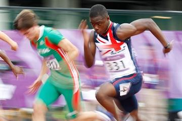 David Bolarinwa of Great Britain competes in the boys 100m heat at the Youth Olympic Games in Singapore (XINHUA /SYOGOC-Pool/ Liao Yujie)