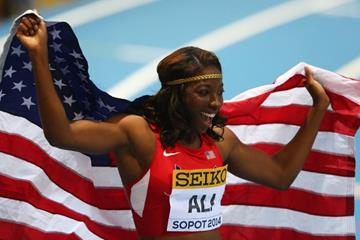 60m hurdles winner Nia Ali at the 2014 IAAF World Indoor Championships in Sopot (Getty Images)