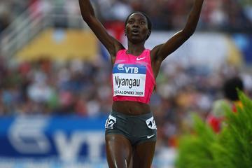 Ruth Bisibori Nyangau of Kenya, a runaway winner of the women's 3000m steeplechase (Getty Images)