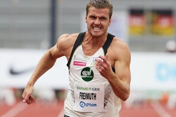 Rico Freimuth in action in the decathlon 100m in Ratingen (Gladys Chai von der Laage)