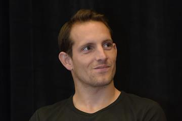 Renaud Lavillenie at the press conference ahead of the 2015 IAAF Diamond League meeting in Eugene (Kirby Lee)