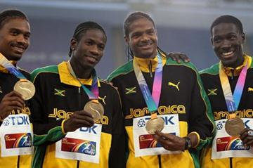 (L-R) Allodin Fothergill, Riker Hylton, Jermaine Gonzales and Leford Green of Jamaica pose with their bronze medals during the medal ceremony for the men's 4x400 metres relay  (Getty Images)