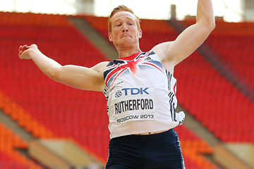 Britain's Greg Rutherford in the long jump at the IAAF World Championships (Getty Images)