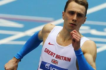 Jamie Bowie in the 4x400m at the 2014 IAAF World Indoor Championships in Sopot (Getty Images)