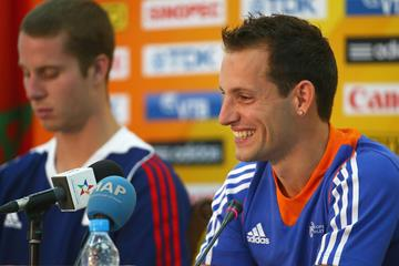 Pole vault world record-holder Renaud Lavillenie at the press conference for the IAAF Continental Cup, Marakech 2014 (Getty Images)