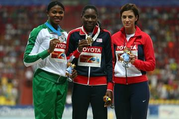 Womens Long Jump Medal Ceremony at the IAAF World Championships Moscow 1013 (Getty Images)