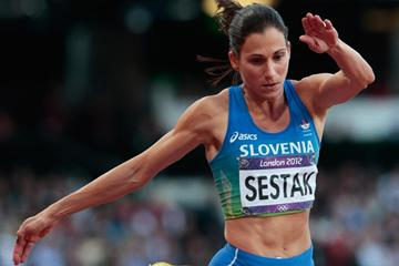Marija Sestak of Slovenia competes in the Women's Triple Jump final on Day 9 of the London 2012 Olympic Games at the Olympic Stadium on August 5, 2012 (Getty Images)