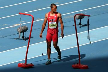 Ashton Eaton in the men's Decathlon Long Jump runway at the IAAF World Athletics Championships Moscow 2013 (Getty Images)
