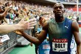 Usain Bolt at the 2013 IAAF Diamond League meeting in Paris (Organisers / KMSP)