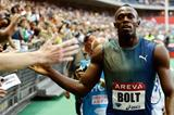 Usain Bolt at the 2013 IAAF Diamond League meeting in Paris (Organisers / KMSP)