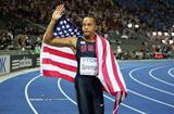 Wallace Spearmon of the United States banishes his Olympic demons and celebrates winning the bronze medal in the men's 200m at the 12th IAAF World Championships in Athletics in Berlin (Getty Images)
