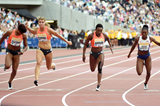 Dafne Schippers winning the 100m at the 2015 IAAF Diamond League meeting in London (Kirby Lee)
