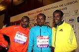 Ibrahim Jeilan, Tariku Bekele and Imane Merga ahead of the 2013 Rock'n'Roll Vodafone Half Marathon of Portugal  (Andrew McClanahan - PhotoRun / organisers)