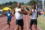 Asafa Powell (left) finishes ahead of Ainsley Waugh in the men's 400m at the 2008 Grace Jackson Invitational (SportingEagle Photo)