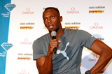 Usain Bolt at the press conference ahead of the IAAF Diamond League meeting in New York (Victah Sailer)