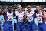Great Britain's winning 4x100m team at the 2014 European Athletics Team Championships: (l-r) Harry Aikines-Aryeetey, Richard Kilty, James Ellington & Adam Gemili  (Getty Images)