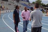 Aries Merritt talks to Maurice Greene at the 2013 US Championships ()